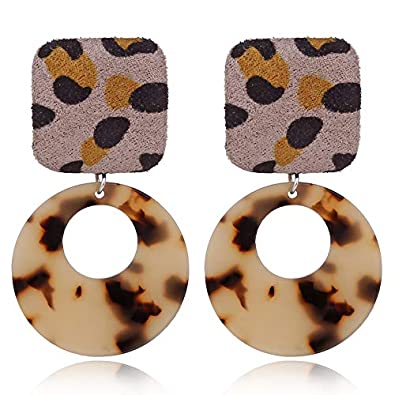 Fashion Leopard Acetate Earrings Personality Atmosphere Exaggerated Edition Geometric Round Brown Acrylic E426