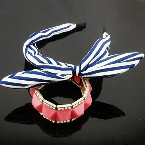 1pc Hot Floral Fashion Wide Women Ribbon Bowkno Hairband Rabbit Ears Headband (Colors - 3) (Insert Shield Ribbon)