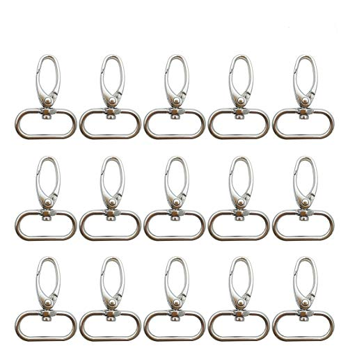 Metal 1 Inches Silvery Curved Lobster Clasps Swivel Trigger Clips Snap(Pack of 20) (Metallic-20Pack)