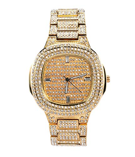 Mens Gold Urban Style Rounded Corner Iced Out Metal Watch with Simulated Diamonds | Gift Box Included | Generic Dial | Japanese-Quartz Movement