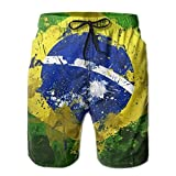 confirm vt Graffiti Brazilian Flag Mens Quick Dry Swim Trunks Beach Shorts