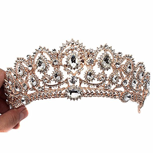 [Crown, Tiara, YallFF Prom Queen Crown Quinceanera Pageant Crowns Princess Crown Rhinestone Crystal Bridal Crowns Tiaras for Women] (Crowns For Queens)