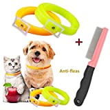2pcs Anti Flea & Tick Collar for Dogs Cats Pets Essential Oil One Size fits All + Anti Flea Comb Nonchemical Non-Toxic