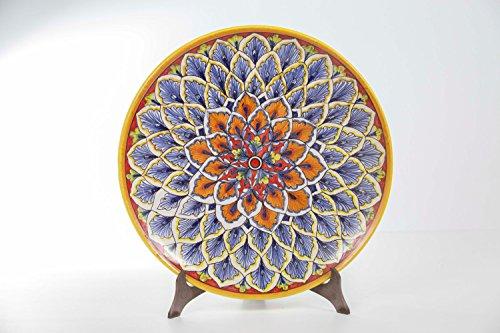 Italian Ceramics Majolica (Floral Mandala Majolica Ceramic Decorative Plate, Italian Style Handmade Artisan Ceramic Display Platter)