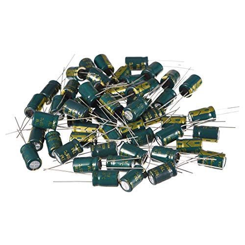 - uxcell Aluminum Radial Electrolytic Capacitor Low ESR Green with 10uF 250V 105 Celsius Life 3000H 8 x 12 mm High Ripple Current,Low Impedance 50pcs