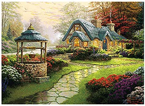 Jigsaw Puzzles 1000 Pieces for Adults Kids Families Magic Academy Stress Reliever Micro-Sized Puzzles Rural Life Landscape Painting Puzzle DIY Colorful Toys Educational Games Difficult Puzzle Art