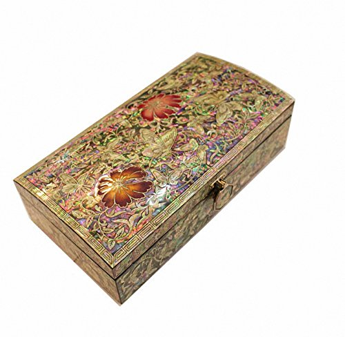 Mother of Pearl Arabesque & Butterfly Design Jewelry Box Najeon Chilgi Artian Handcrafted Jewellry Case by JMcore High Quality Jewelry Box