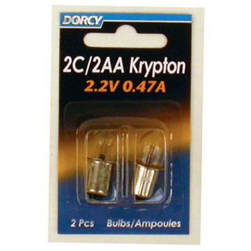 Krypton Flashlight Replacement - Dorcy 2C/2AA-2.2-Volt, 0.47A Bayonet Base Krypton Replacement Bulb, 2-Pack (41-1662)