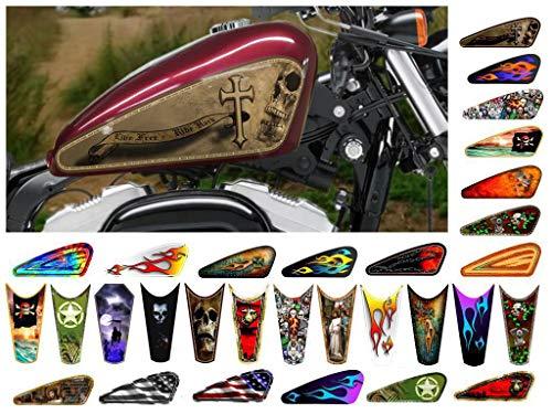 East Coast Vinyl Werkz Motorcycle Gas Tank Decals/Sets - for Harley Davidson Sportster Honda Shadow Suzuki Kawasaki Indian Yamaha (Dusty Skulls w/Cross - 2pc Side Tank Decals) ()