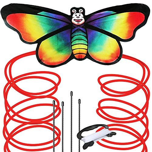 Rainbow Butterfly Kite for Kids - Beautiful Premier Kite, Easy to Assemble and Fly, Great for Beginners and Pro, with Spool, String and Ebook for Beach and Outdoor Fun Adventure