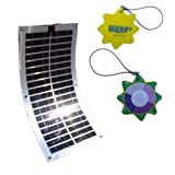 HQRP 30W Flexible Solar Panel Power 30 Watt 12V Poly-crystalline PV Module w/ 4 Stainless Grommets for RV Boat Yacht plus HQRP UV Meter