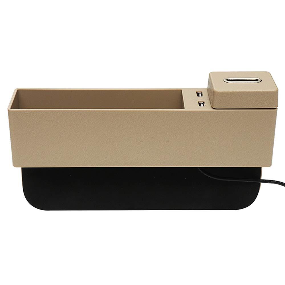 Auto Car Seat Side Pocket,Console Side Pocket,Car Pocket Organizer with Coin Holder 2 USB Ports Seat Gap Filler for Cellphones,Keys,Cards,Wallet BG