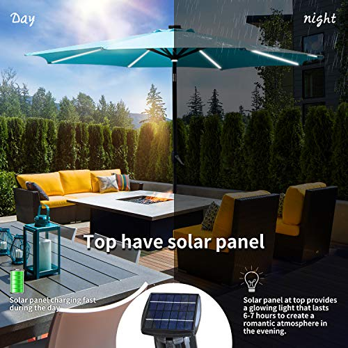 KOOLWOOM 9ft Solar LED Lighted Patio Umbrella with Crank and Auto Tilt,Outdoor Umbrella with Fade Resistant Water Proof Fabric and Push Button Without Base Navy Blue