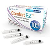 10ml Syringe Only with Luer Lock Tip - 100 Syringes by Comfort EZ (No Needle)