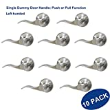 Knobonly Closet Dummy Left Handed Levers Wave Styel Non-locking Single Side Brushed Nickel Finish Stainless Steel-10 Pack