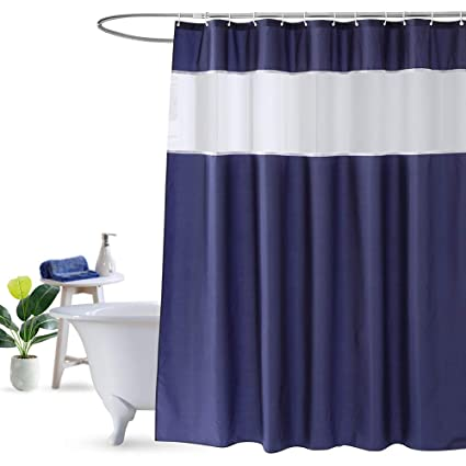 UFRIDAY Navy Blue And White Shower Curtain Fabric With Light Filtering Mesh Window