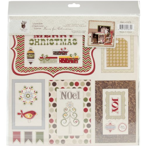 Fancy Pants Home For Christmas Layerable Chipboard Frame Embellishments -