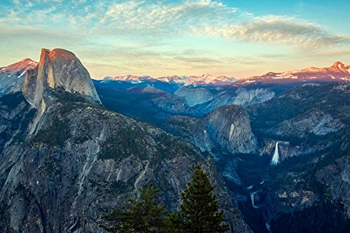 Gifts Delight Laminated 36x24 inches Poster: Yosemite National Park Tourism Sky Clouds Valley Forest Trees Woods Landscape Scenic Country Countryside Wilderness Remote Sunset Sunrise Beautiful HDR