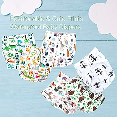 Wegreeco Washable Reusable Baby Cloth Pocket Diapers 6 Pack + 6 Inserts + 1 Wet Bag/Muslin Receiving Blanket