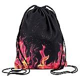 Ababalaya 3D Print Drawstring Backpack Rucksack Shoulder Bags Gym Bag, Flame