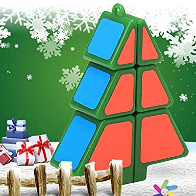 Mini Cube Puzzle Party Toy Christmas Tree Shape Magic Cube Plastic Twist IQ Puzzle Toys Eco Friendly Safety Colorful Cubes with Hole Best Gift for Kids Promote Brain Development: Sports & Outdoors