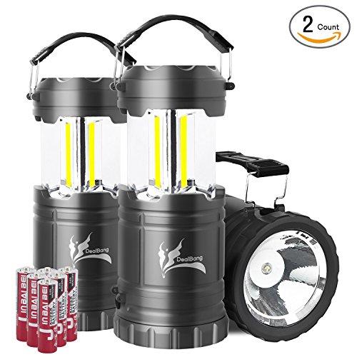 Combo Lantern (Portable LED Camping Lantern with Flashlight, Dealbang COB Strip Camping Gear (2-Pcs, Grey))