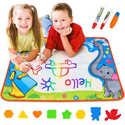 Toyk Aqua doodle Drawing Mat - Painting Writing Doodle Board Toy - Color Aqua Magic mat and 3 Magic Pens Educational Toy for kids toddler