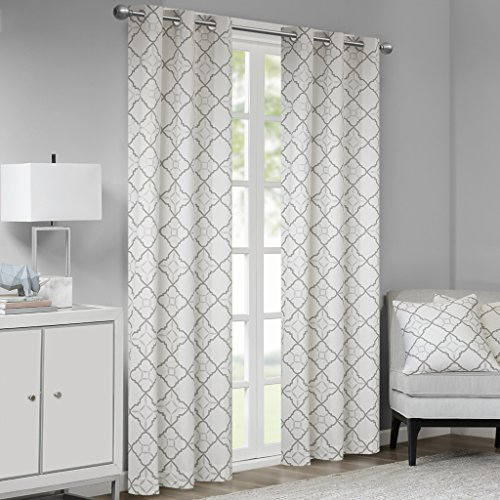 Madison Park Hayes Cotton Duck Printed Grommet Window Curtain Panels Pair Drapes for Bedroom Living Room and Dorm, 42