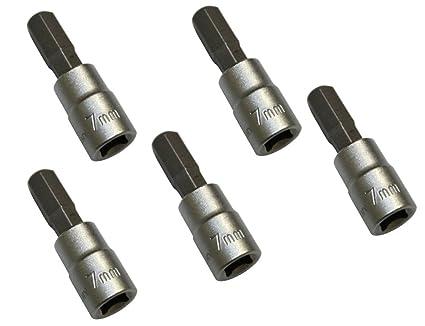 """AERZETIX: Juego de 5 destornillador bits Allen 7mm y soporte de bit 1/4"""" C2075"""