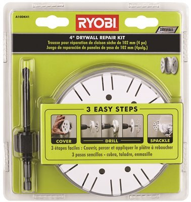 Ryobi A10DK41 Drywall Repair Kit with Hole Saw and Hex Shank Drill Bit (Wall Kit Spackle Repair)