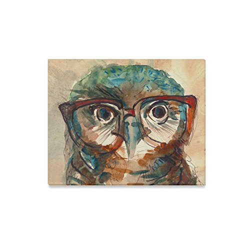 InterestPrint Watercolor Owl with Big Eyes in Hipster Glasses Canvas Wall Art Print Painting Hanging Artwork Stretched and Gallery Canvas Ready to Hang for Home Decorations 20 X 16 - Hipster Buy Glasses
