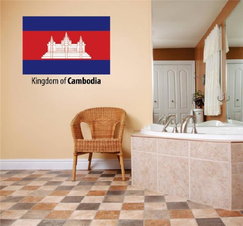 (Decals & Stickers : Kingdom Of Cambodia Flag Country Pride Symbol Sign / Banner Emblem - Home Decor Boys Girls Dorm Room Bedroom Living Room Peel & Stick Picture Art Graphic Design Car Window Text Lettering Mural - Discounted Sale Price – Size : 10 Inches X 20 Inches - 22 Colors Available)