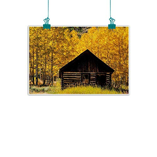 Unpremoon Autumn,Kitchen Wall Art Abandoned Wooden Farmhouse in Fall with Aspen Trees Rural Pastoral Nature Scene W 24