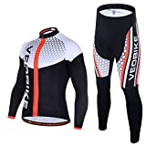 cheap dye brush - Ohmotor Men's Long Sleeve Cycling Suit Jersey Breathable Quick Dry Bicycle Riding Mountain Biking Clothes Set Sportswear 4D Cushion Padded Compression Pants - Black, M