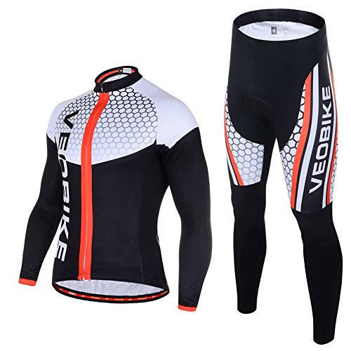 Ohmotor Men's Long Sleeve Cycling Suit Jersey Breathable Quick Dry Bicycle Riding Mountain Biking Clothes Set Sportswear 4D Cushion Padded Compression Pants - Black, - Aero Cycling Skinsuit