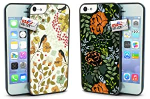Birds and Flowers Designer Cases TWO PACK for iPhone 5c