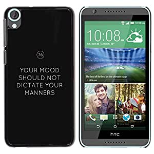 FlareStar Colour Printing Keep Manners Mood Calm Keep Text cáscara Funda Case Caso de plástico para HTC Desire 820