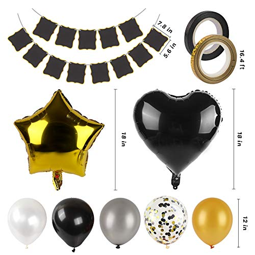 LOVESTOWN Black Gold Balloon Banner Party Decorations, Black and Gold Birthday Balloons Set with DIY Banner New Year Eve Party Supplies Graduation Party Supplies