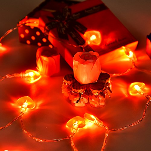 Bememo 8 Flash Modes Heart Shaped String Lights 8.2 Feet with 20 Pieces Warm White Lights for Valentine's Day Party Home Decoration