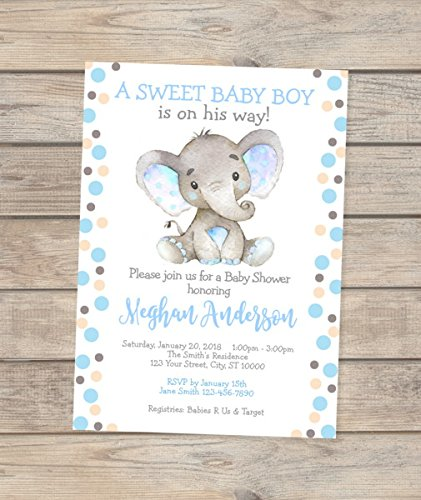 Elephant Baby Shower Invitations, Watercolor Elephant Boy Baby Shower Invitations, Polka Dots Baby Elephant Invitations