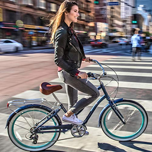 sixthreezero EVRYjourney Women's 7-Speed Step-Through Hybrid Alloy Cruiser Bicycle, Navy w/Brown Seat/Grips, 26 Wheels/ 17.5 Frame