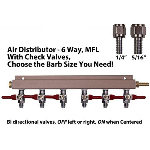 (6 Way Air Manifold W/mfl Valves, Swivel Nut, 1/4 and 516