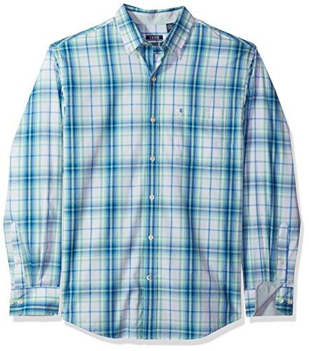 IZOD Men's Button Down Long Sleeve Stretch Performance Plaid Shirt, Dusty Jade 97, Medium