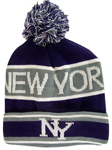 New York City NY Men's 2-Tone Winter Knit Pom Beanie Hats (Gray/Purple) -