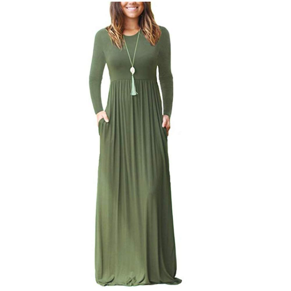 TALLA Large. ZNYSTAR Mujer Casual Playa Verano Estidos Largos Maxi Vestido con Bolsillo