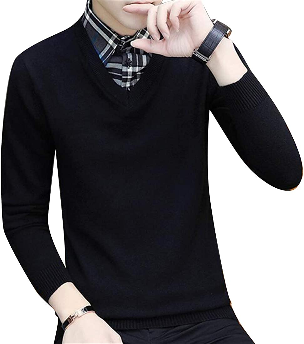 Abetteric Mens V Neck Geometric Long Sleeve Knitting Cozy Pullover Sweaters