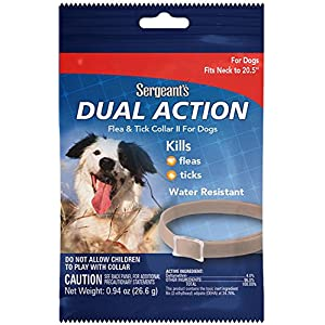 """Sergeant's Pet Products 3284 1 Count Dual Action Flea & Tick Collar for Dogs, 20.5"""" 85"""