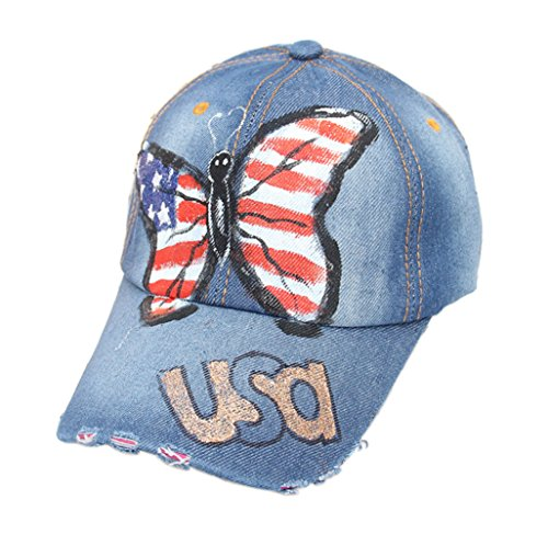 YSJOY Unisex USA American Flag Hat Patriotic Denim Baseball Cap 4th July Star Sun Cap Butterfly Hot Stamping Golf Hat Dad Hat Blue