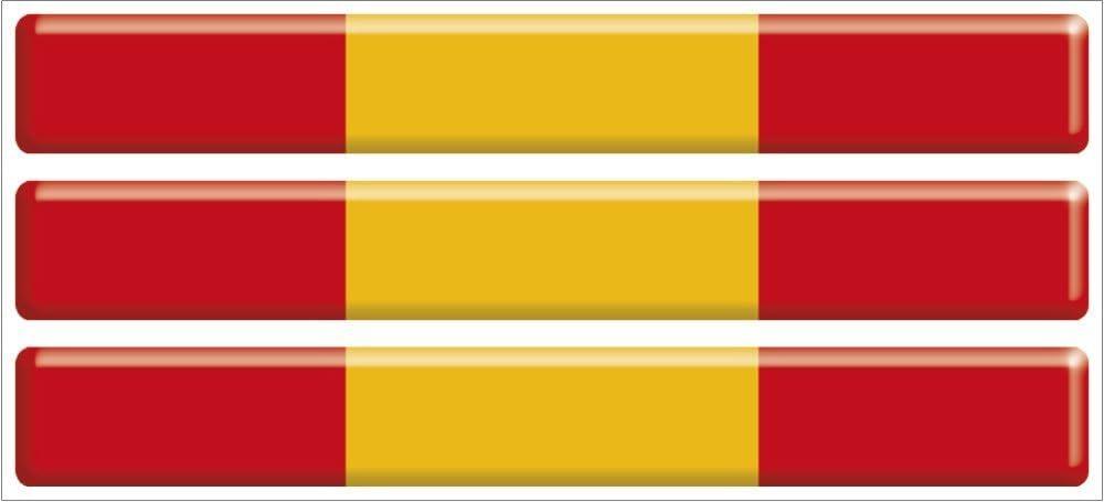 Artimagen Pegatina Bandera Rectángulo Fino Pequeño España 3 uds. 65x8,5 mm/ud. Resina: Amazon.es: Coche y moto