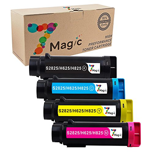 7Magic 3,000 & 2,500 Pages New Compatible Toner Cartridge Replacement for Dell Laser Printer H625cdw, H825cdw, S2825cdn Printer (1Set - 1Black, 1Cyan, 1Yellow, 1Magenta)